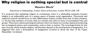 """""""Why religion is nothing special but is central"""" by Maurice Bloch"""