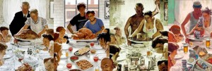 paintings of different family thanksgiving dinners