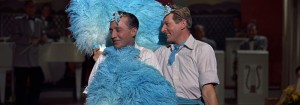 two men dressed up in a blue costume