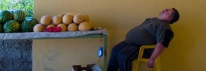 a man sleeping in a chair next to melons