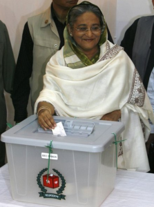 Sheikh Hasina votes in December 2009 Bangladeshi election after which she became Prime Minister