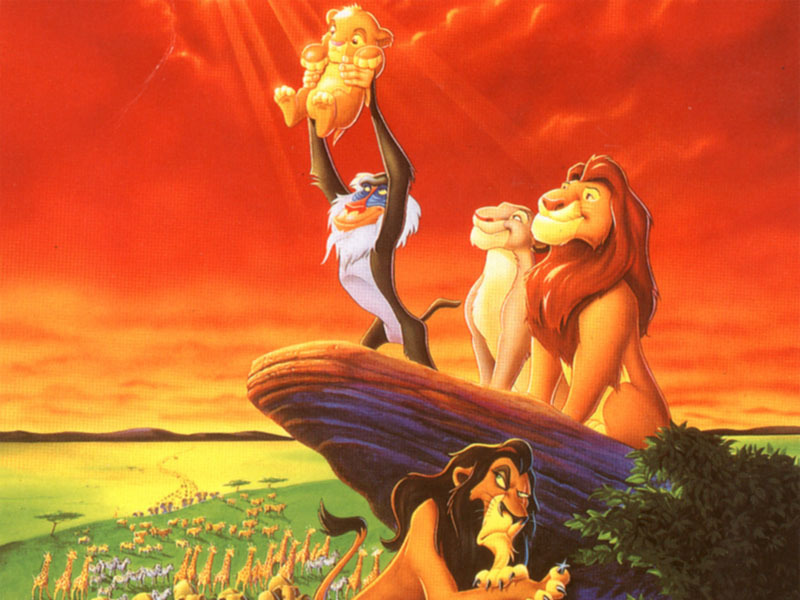 lion king rafiki holding up baby simba with scar looking up disapprovingly
