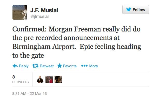 J.F. Musial's tweet about Morgan Freeman