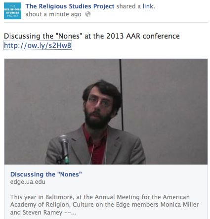 Steven Ramey discusses the Nones at the 2013 AAR conference