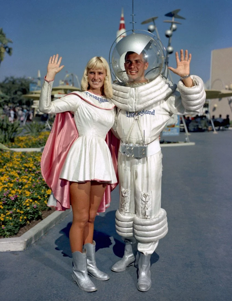 Disney Tomorrowland employees in the 1960s dressed like futuristic astronauts