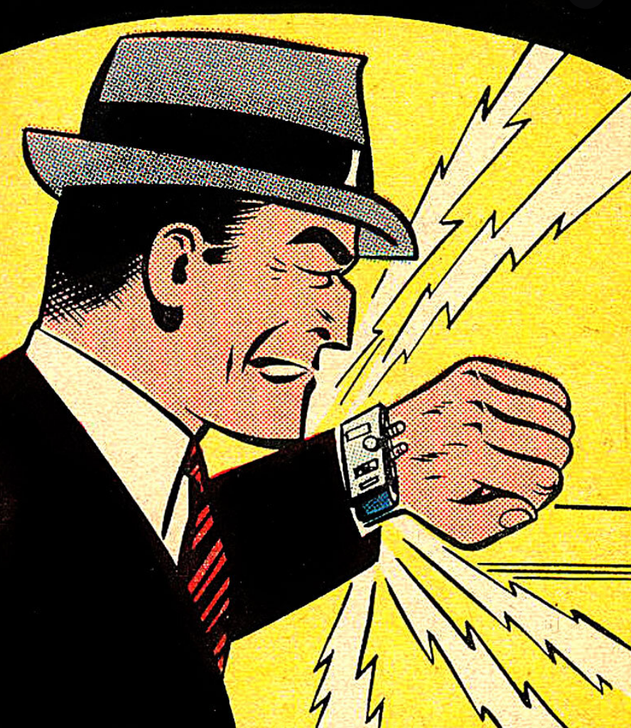 Old Dick Tracy cartoon, using his wrist watch phone