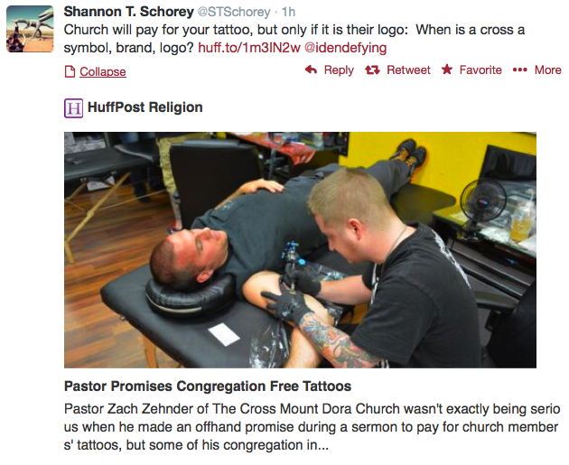 Shannon T. Schorey's tweet about Church paying for tattoos