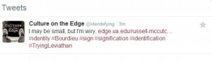 "Culture on the Edge's tweet ""I may be small, but I'm wiry"""
