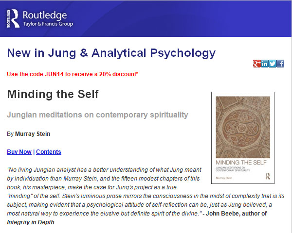 screenshot of webpage advertising Minding the Self by Murray Stein