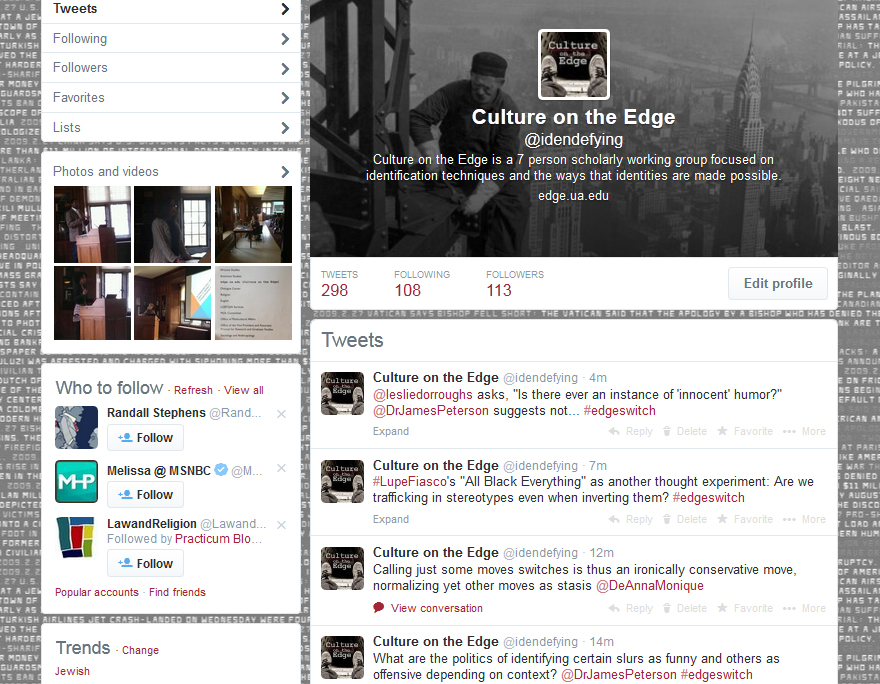 Culture on the Edge's twitter profile