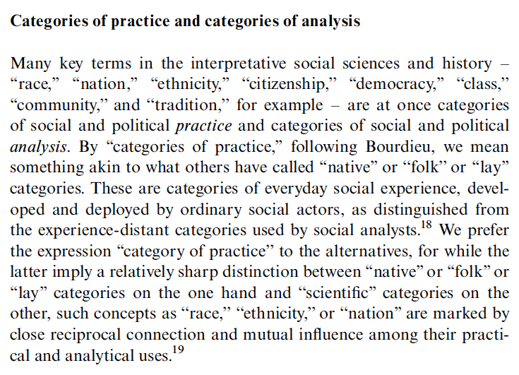 Categories of practice and categories of analysis