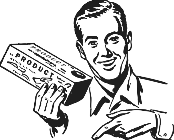 a drawing of a man holding a product