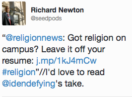Richard Newton's tweet on religious news