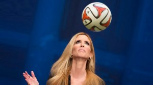 Ann Coulter hitting a soccer ball with her head