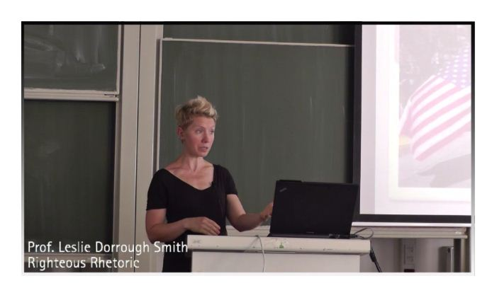 Professor Leslie Dorrough Smith teaching in front of a class
