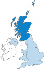 A blue and white map of Scotland