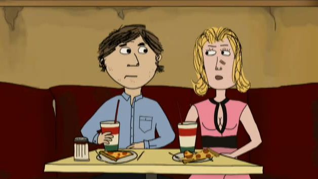 A cartoon of a man and woman having pizzas