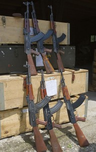 three AK-47 Assault Rifles in a warehouse