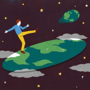 An animated image of a man kicking earth