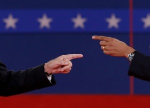 Two fingers pointing at each other at a Presidential Debate