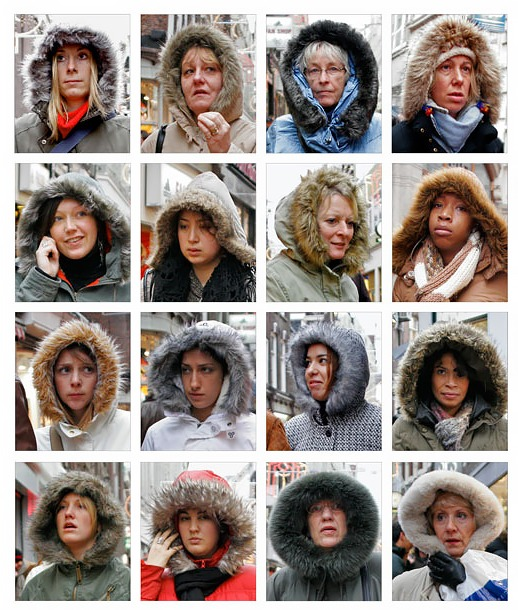 Individual women wearing winter coats