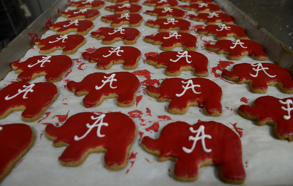 Elephant cookies painted Crimson with Alabama symbol