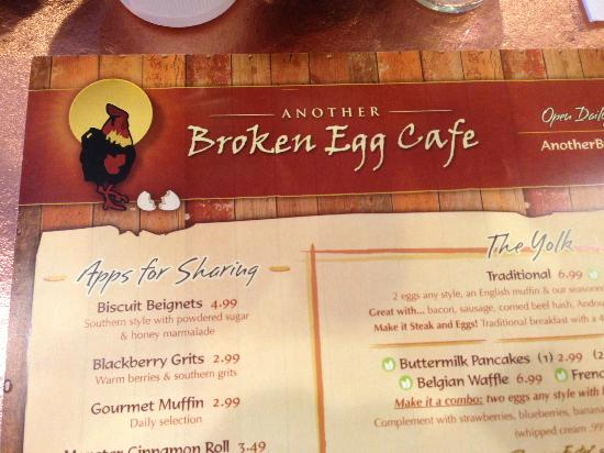 Another Broken Egg Cafe menu
