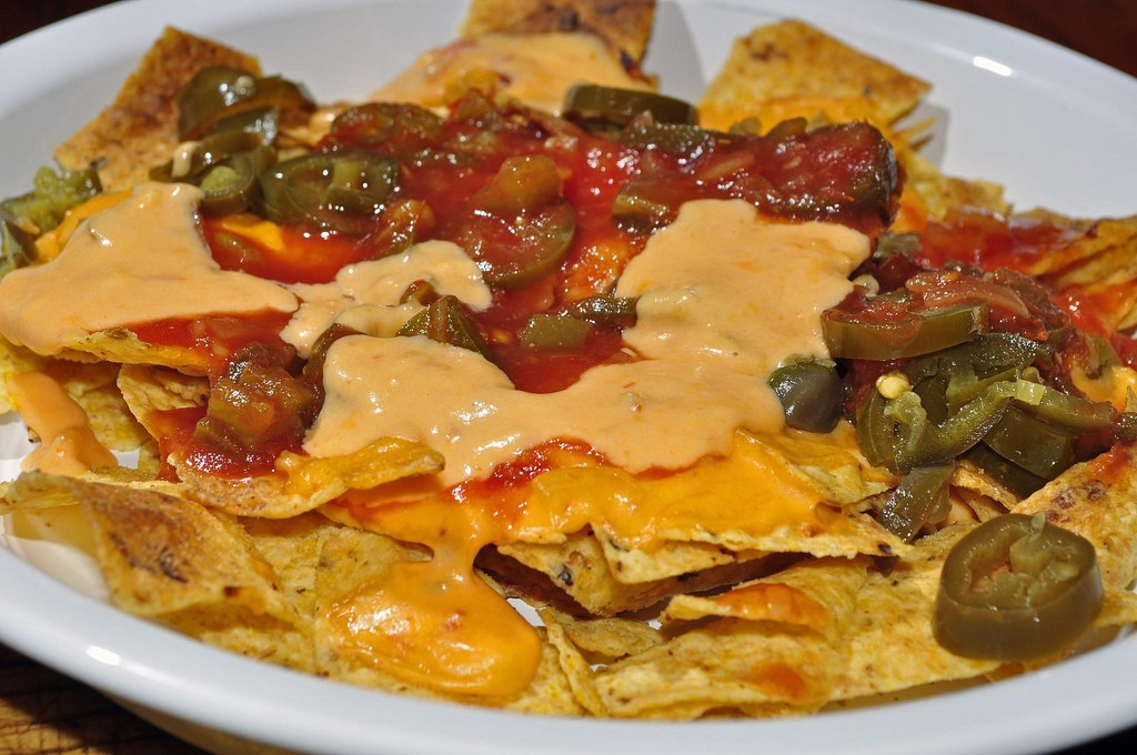 Nachos with cheese and peppers