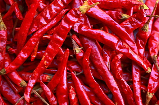 Dried spicy red peppers