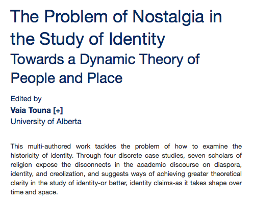 An article about The Problem of Nostalgia in the Study of Identity Towards a Dynamic Theory of People and Place