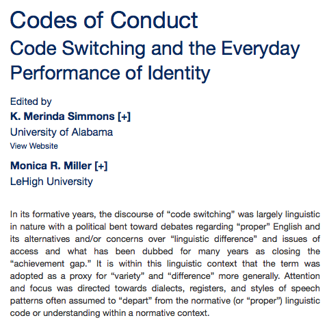 An article about Codes of Conduct Code Switching and the Everyday Performance of Identity