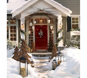 The front entrance of a house decorated during Christmas