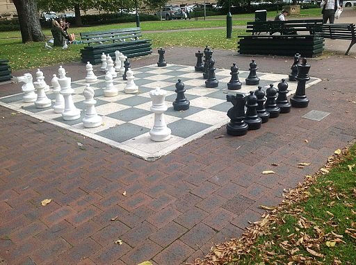 A large chess set outdoors