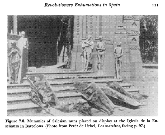 A black and white photo of the Revolutionary Exhumations in Spain