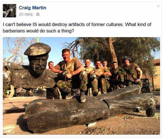 Craig Martin's Facebook post about barbarians