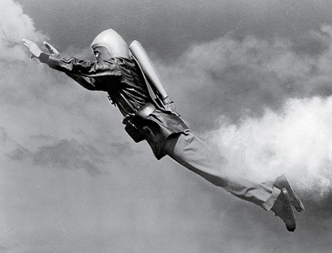 A man wearing a jet pack
