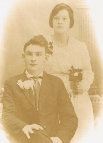 A black and white wedding photo