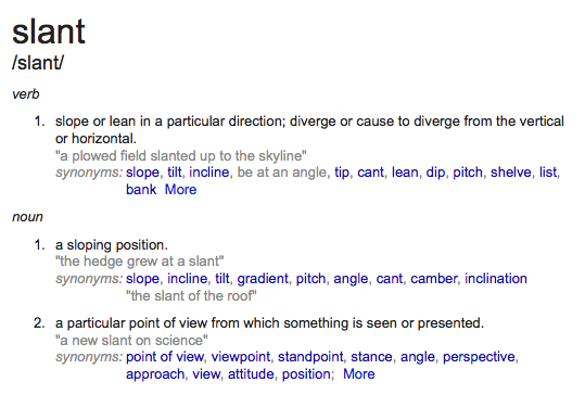 The multiple definitions of slant