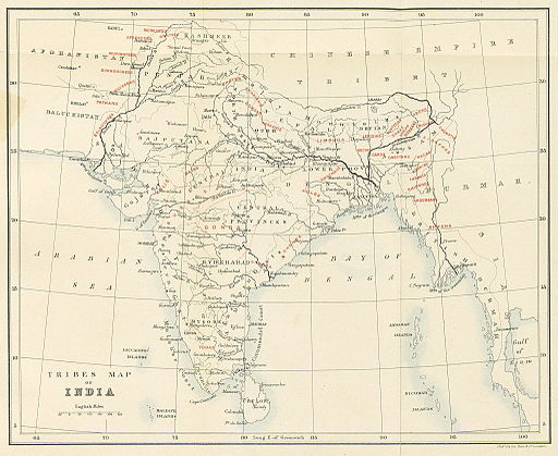 1882 map of the tribes of India