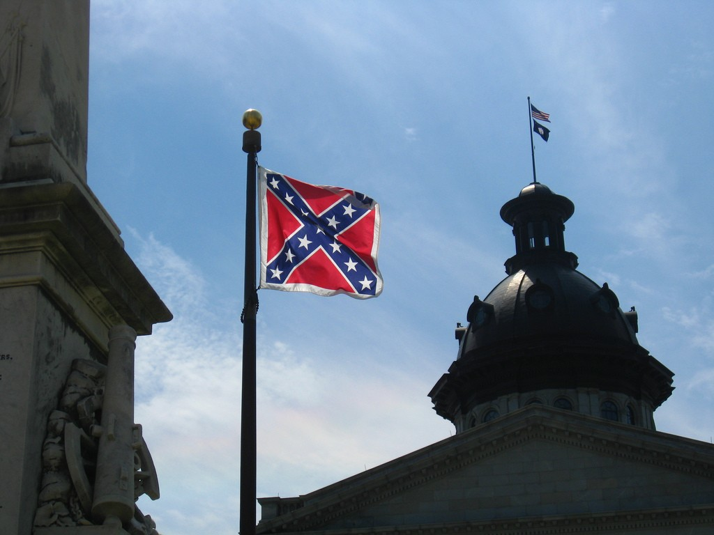 The confederate flag flying in the wind