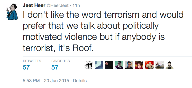 Jeet Heer's tweet about his feelings on terrorism