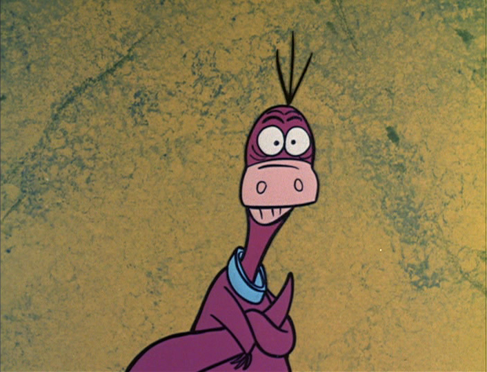 a purple cartoon dinosaur