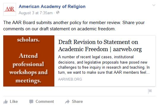 American Academy of Religion's facebook pot about Draft Revision of Statement on Academic Freedom
