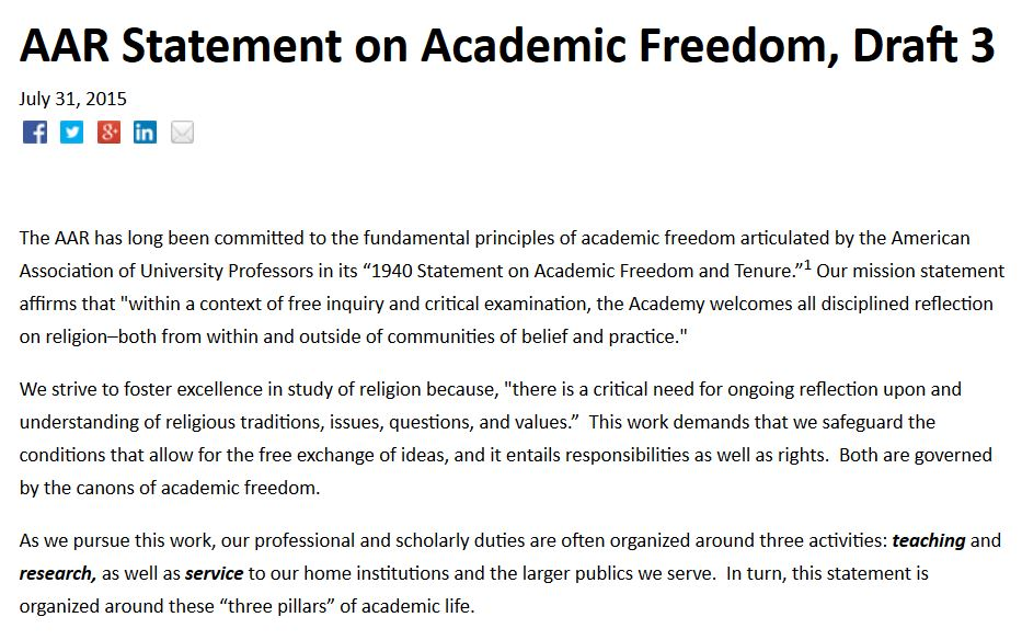 AAR Statement on Academic Freedom, Draft 3