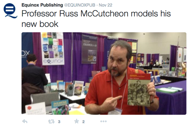 Equinox Publishing tweet about Professor Russ McCutcheon