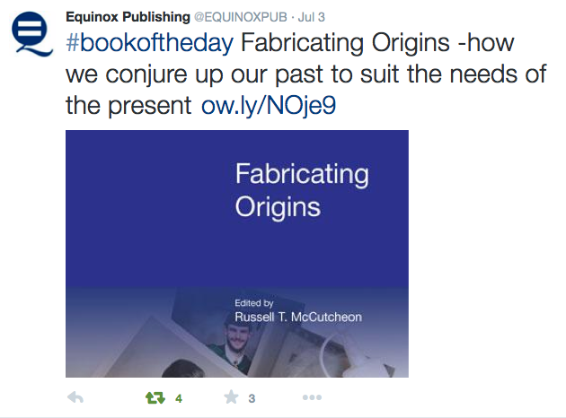Equinox Publishing tweet about #bookoftheday