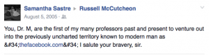 Samantha Sastre facebook post to Russell McCutcheon