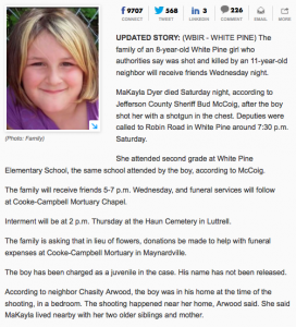 News article about an 8 year old girl that was shot and killed