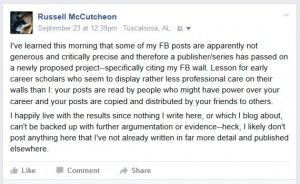 Russell McCutcheon's facebook post about his previous posts