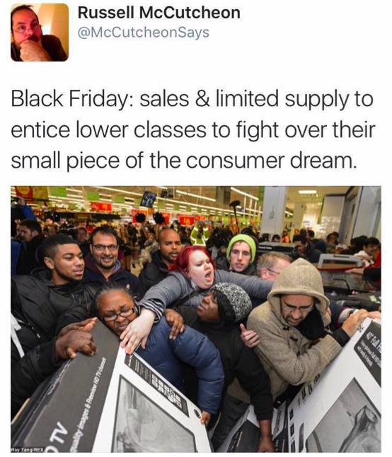 Russell Mccutcheon's tweet about Black Friday sales